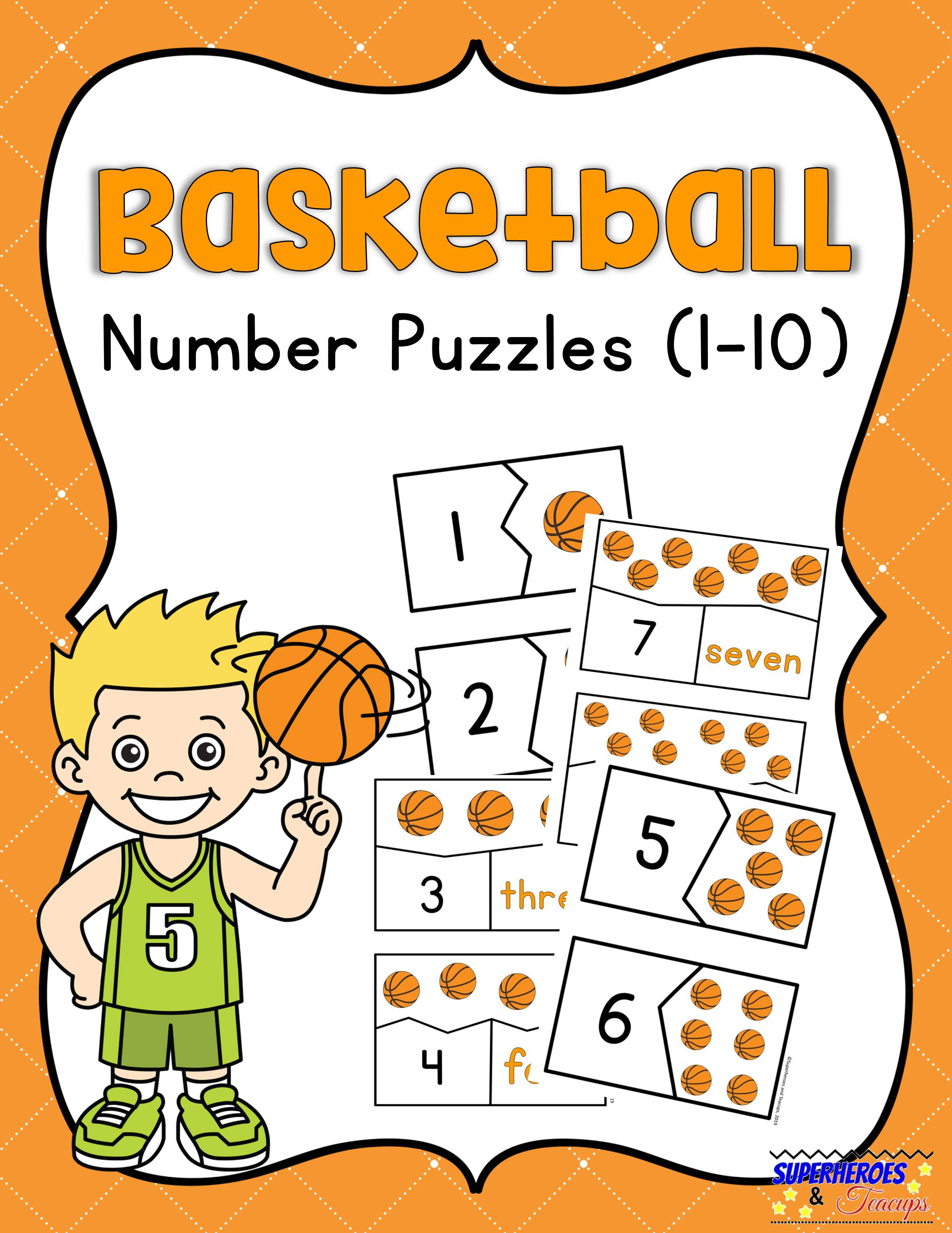 Use these free printable basketball number puzzles with your child to practice counting and numeral/number word recognition. #mathprintables #basketballprintables #basketballmath #freeprintables #superheroesandteacups