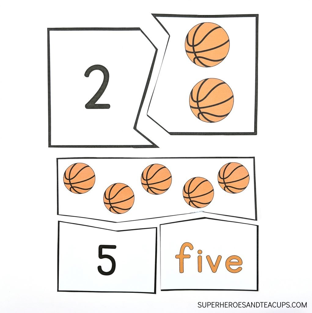Basketball Number Puzzles Free Printable
