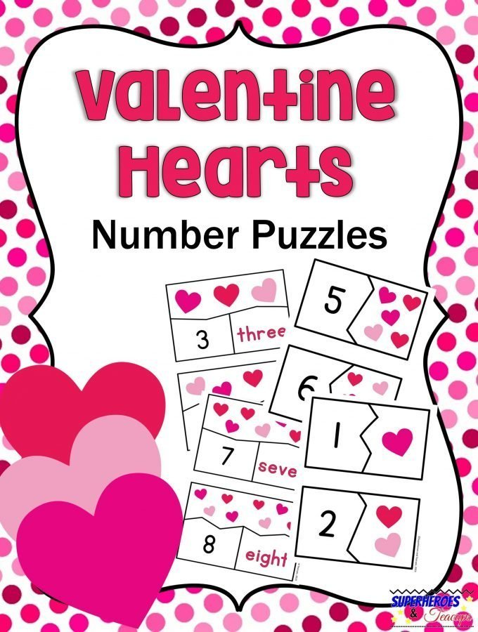 Valentine Hearts Number Puzzles Printable for Kids