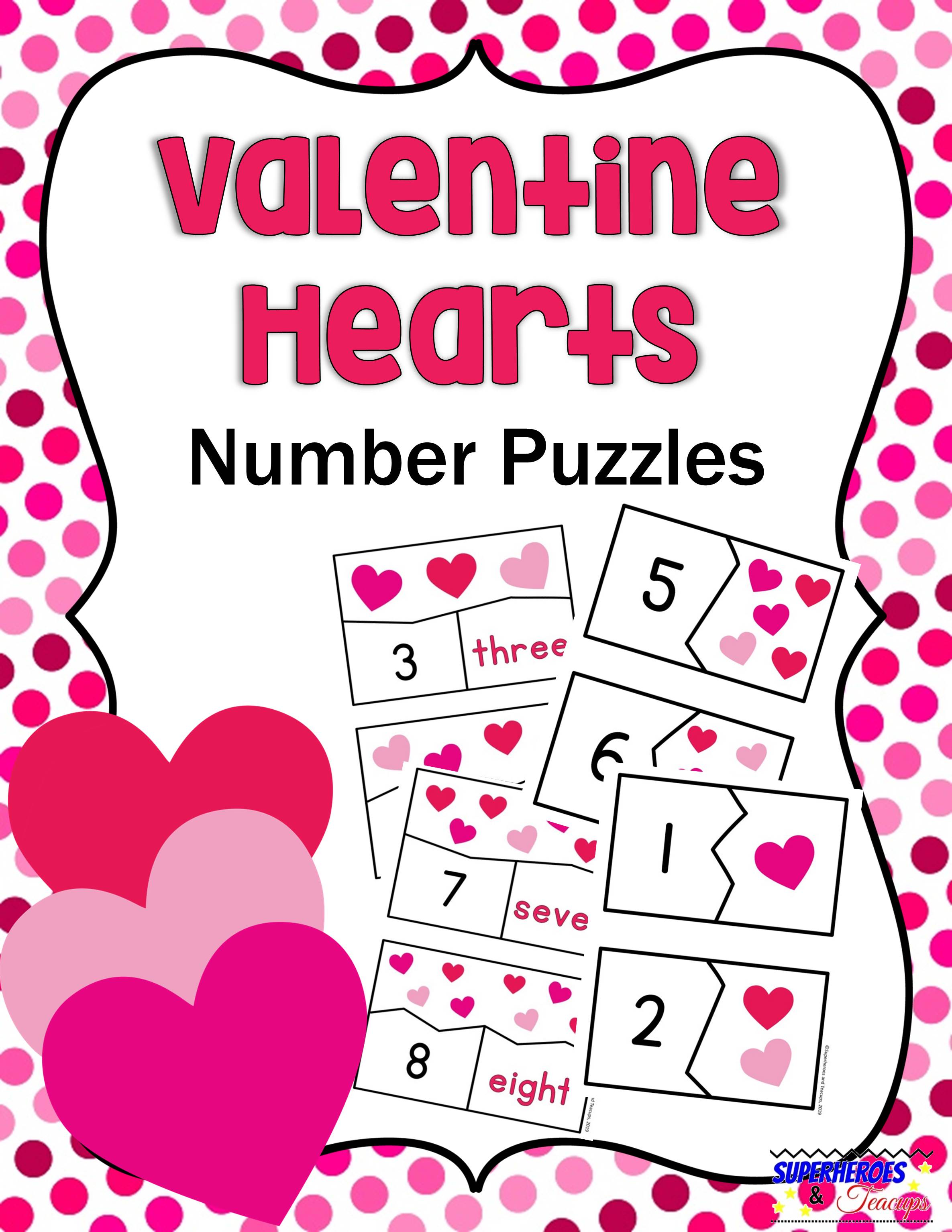 Use these free printable Valentine hearts number puzzles with your child to practice counting and numeral/number word recognition. #mathprintables #valentinesdayprintables #valentinesdaymath #freeprintables #superheroesandteacups