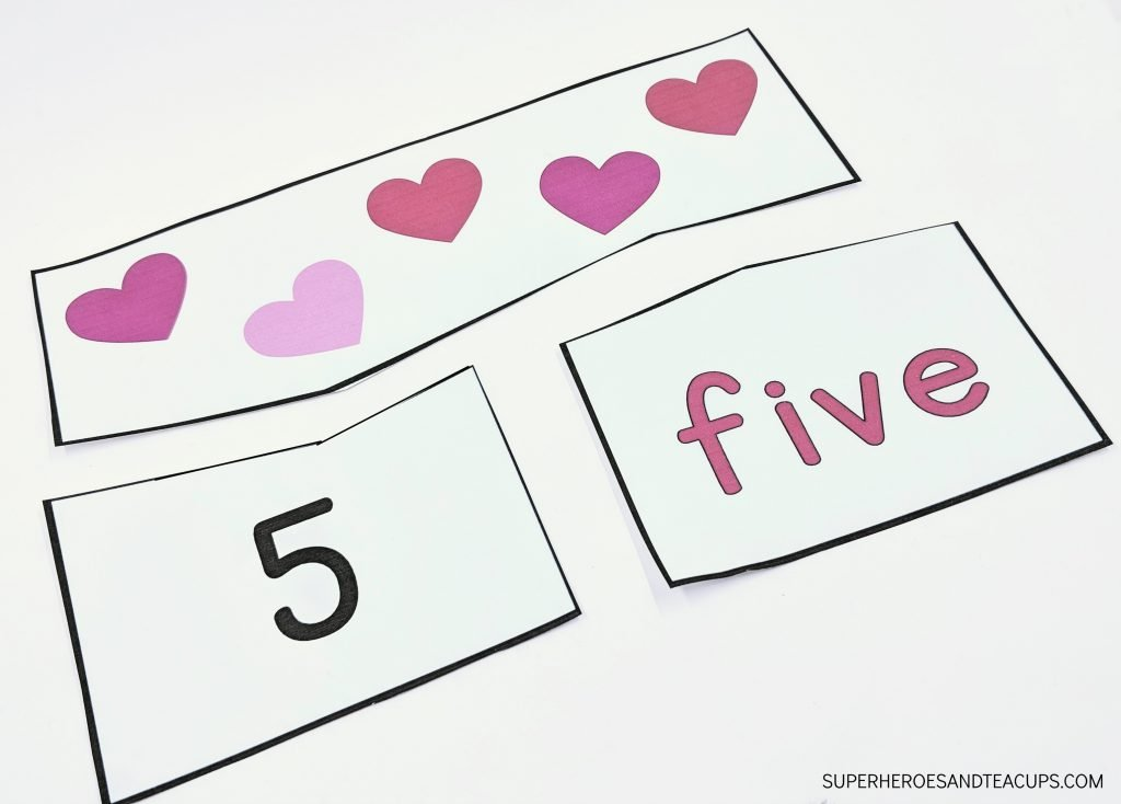 Valentine Hearts Number Puzzles for Kids