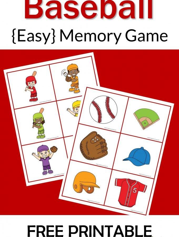 Baseball Memory Game Free Printable