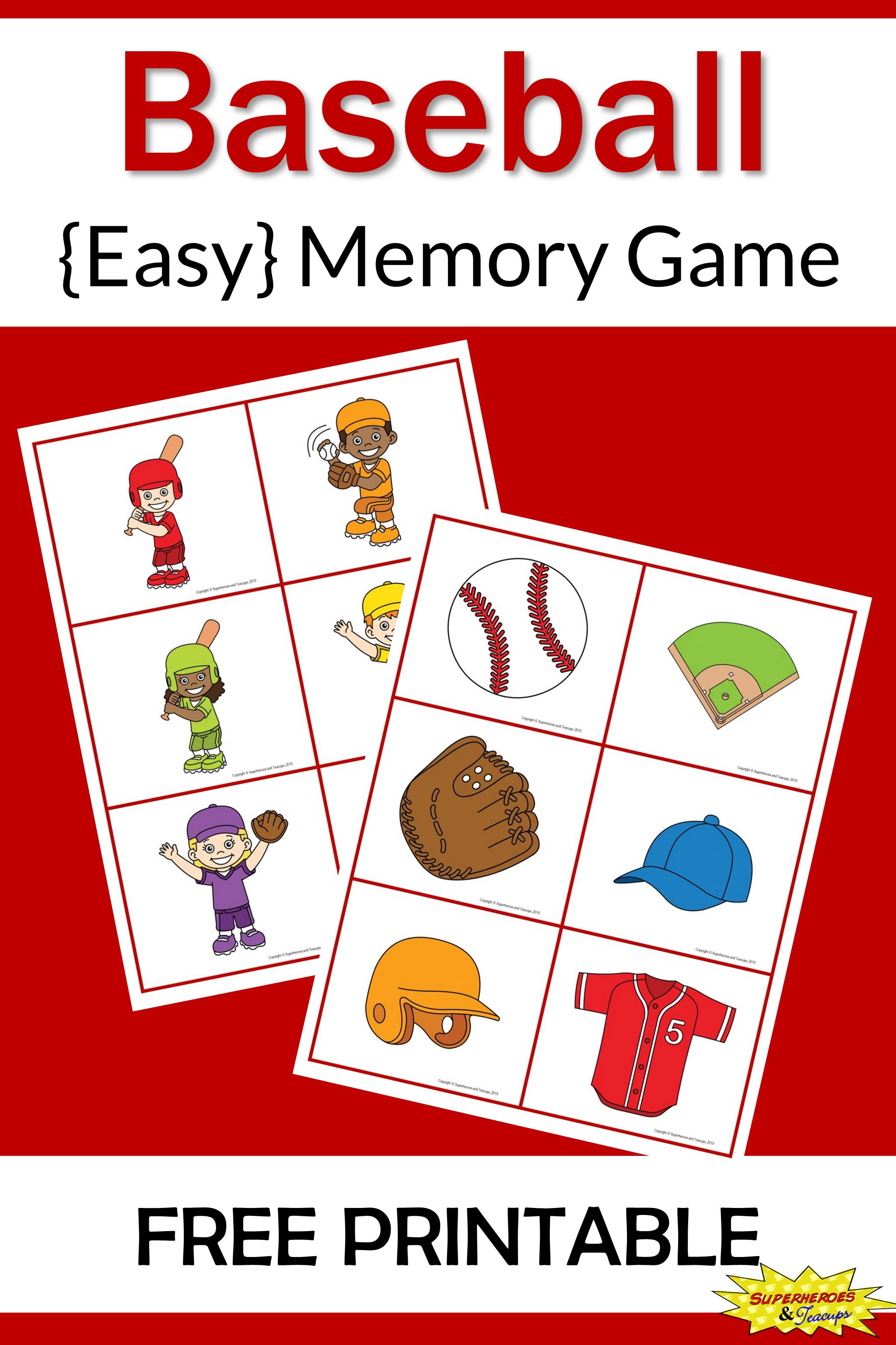 graphic about Printable Memory Game named Baseball Memory Match Totally free Printable for Little ones