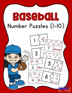 Baseball Number Puzzles Free Printable