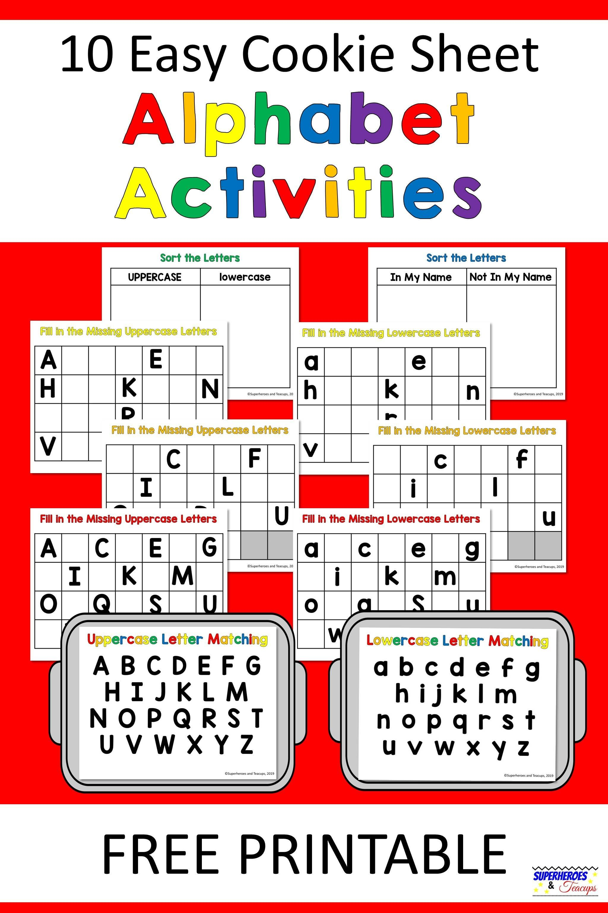 graphic about Free Printable Lower Case Letters referred to as 10 Simple Cookie Sheet Alphabet Functions No cost Printable for Small children