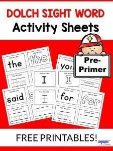 Pre-Primer Dolch Sight Word Actvity Sheets Free Printable