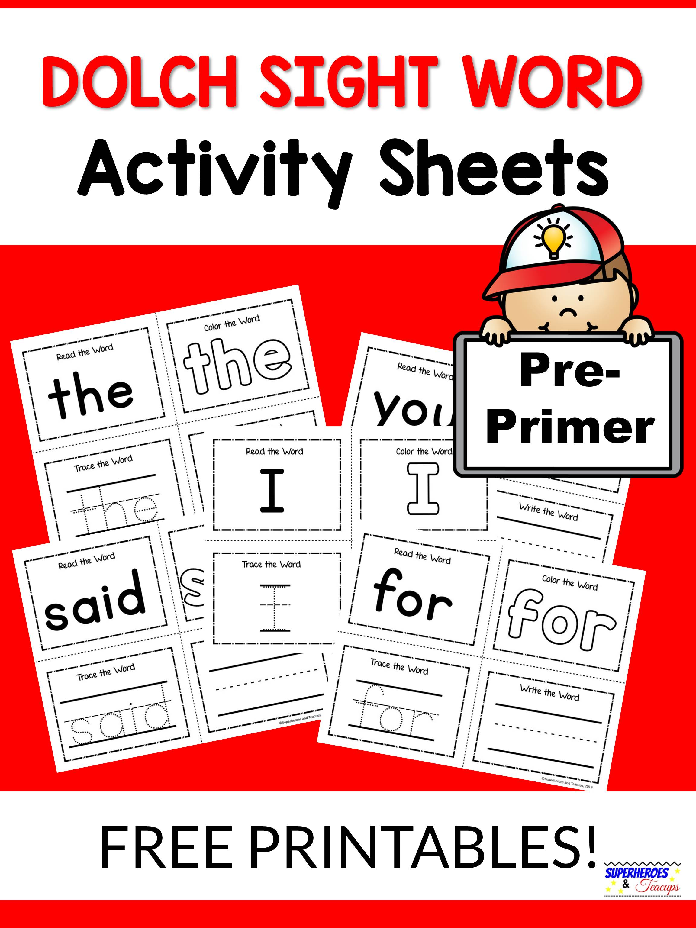 Pre-Primer Dolch Sight Word Activity Sheets | Superheroes ...