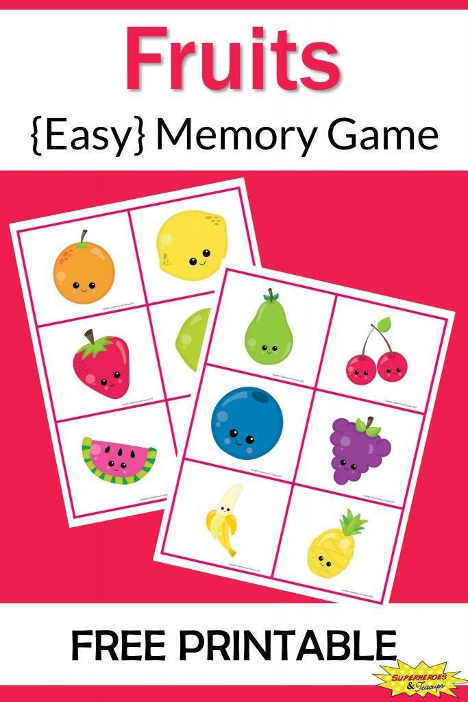 Fruits Memory Game Free Printable