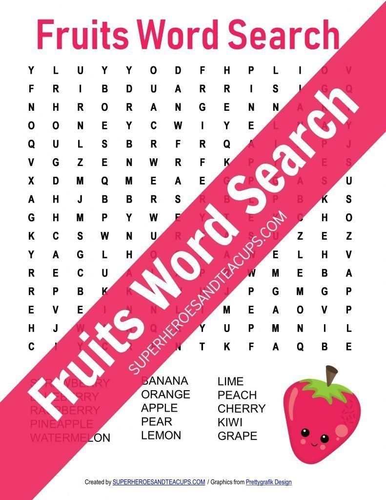 Free Printable Fruits Word Search