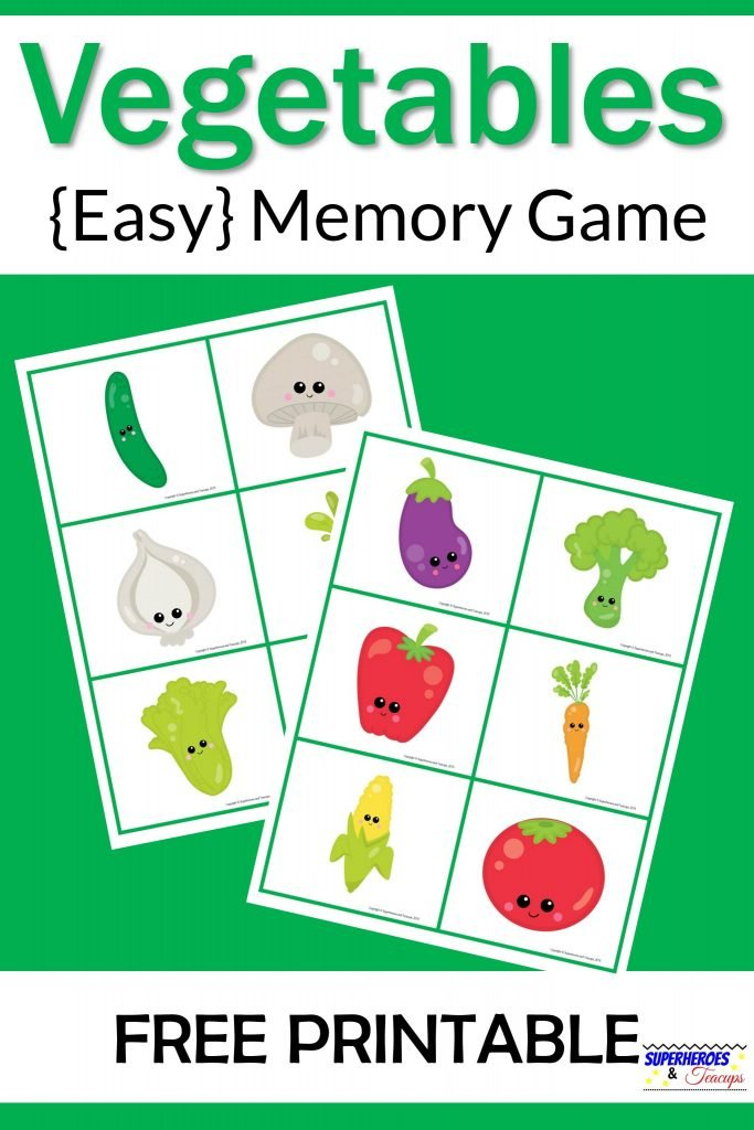 Vegetables Memory Game Free Printable