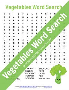 Vegetables Word Search Free Printable