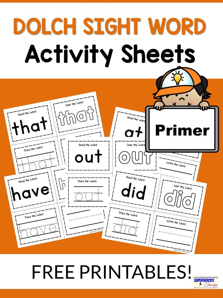 Primer Dolch Sight Word Activity Sheets Free Printable