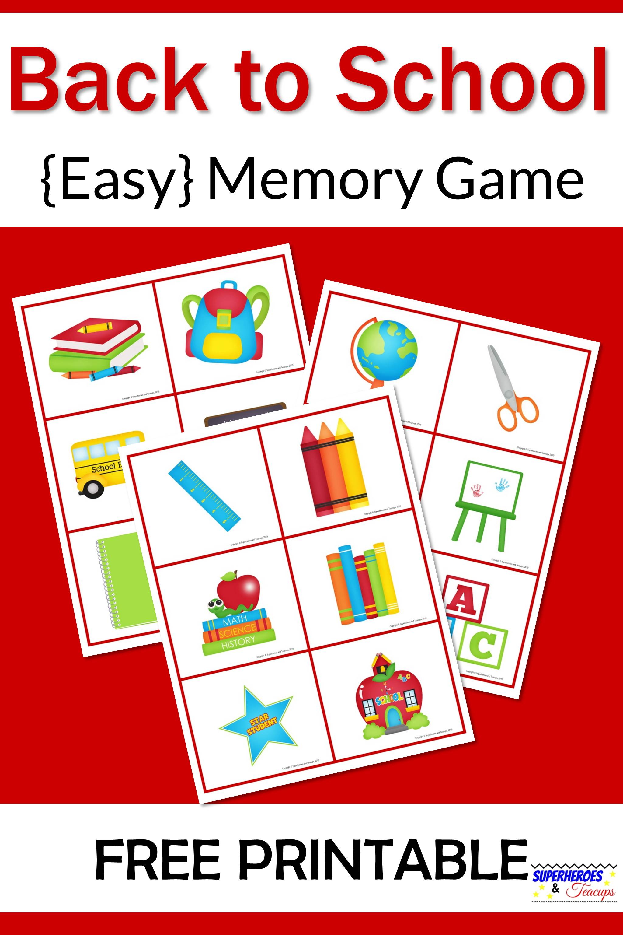 Back to School Memory Game Free Printable