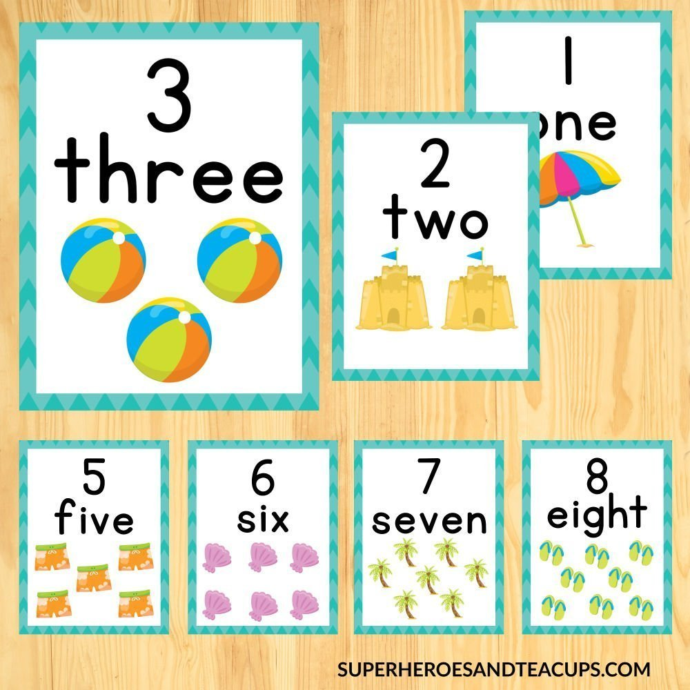 Beach Number Cards in 3 Sizes