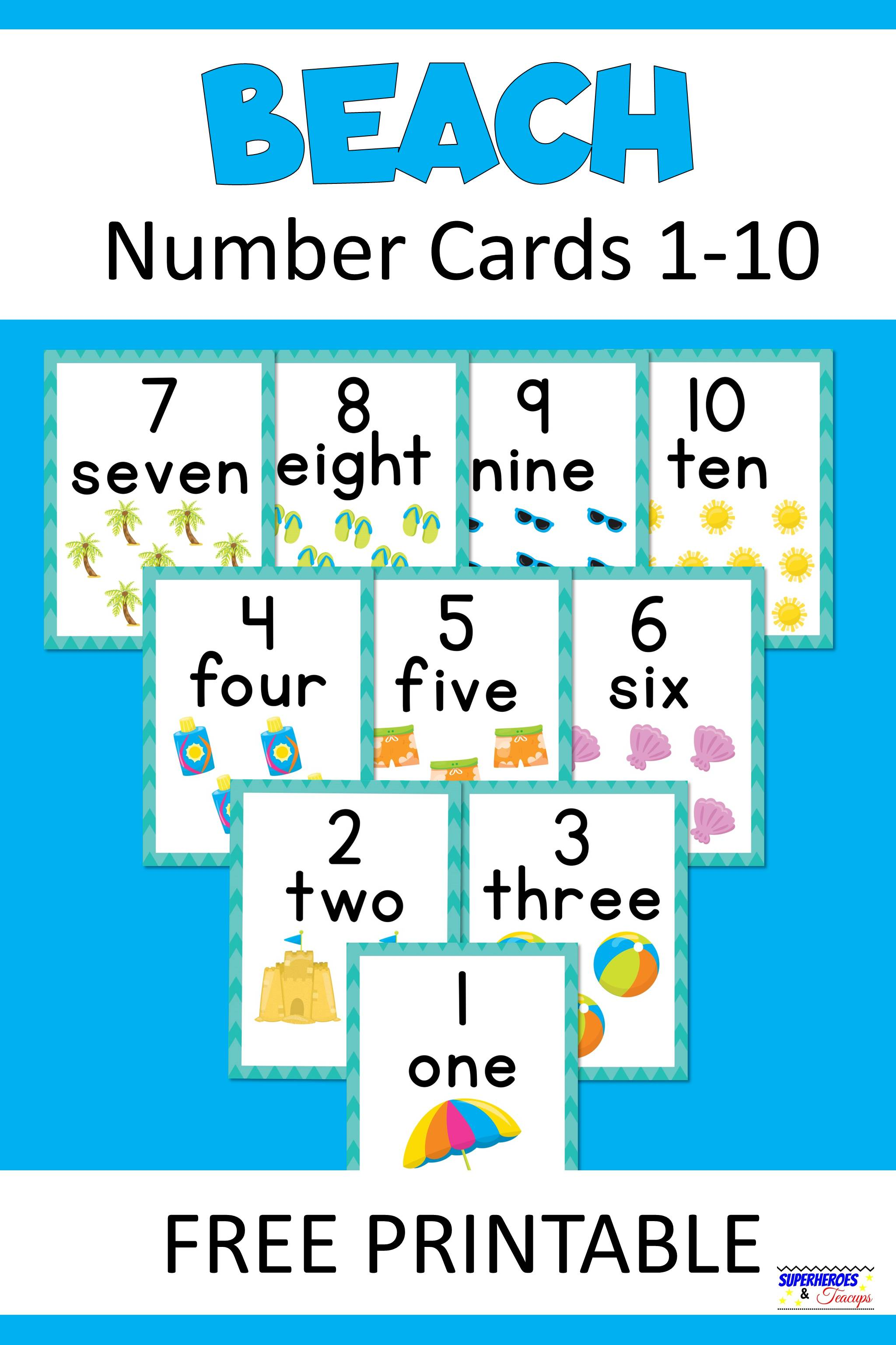 photograph relating to Printable Number Cards 1-10 titled Seaside Range Playing cards Absolutely free Printable Superheroes and Teacups