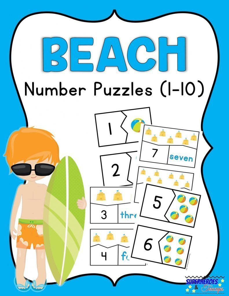 Beach Number Puzzles Free Printable