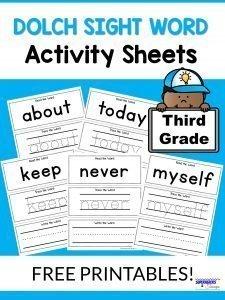 Third Grade Dolch Sight Word Activity Sheets