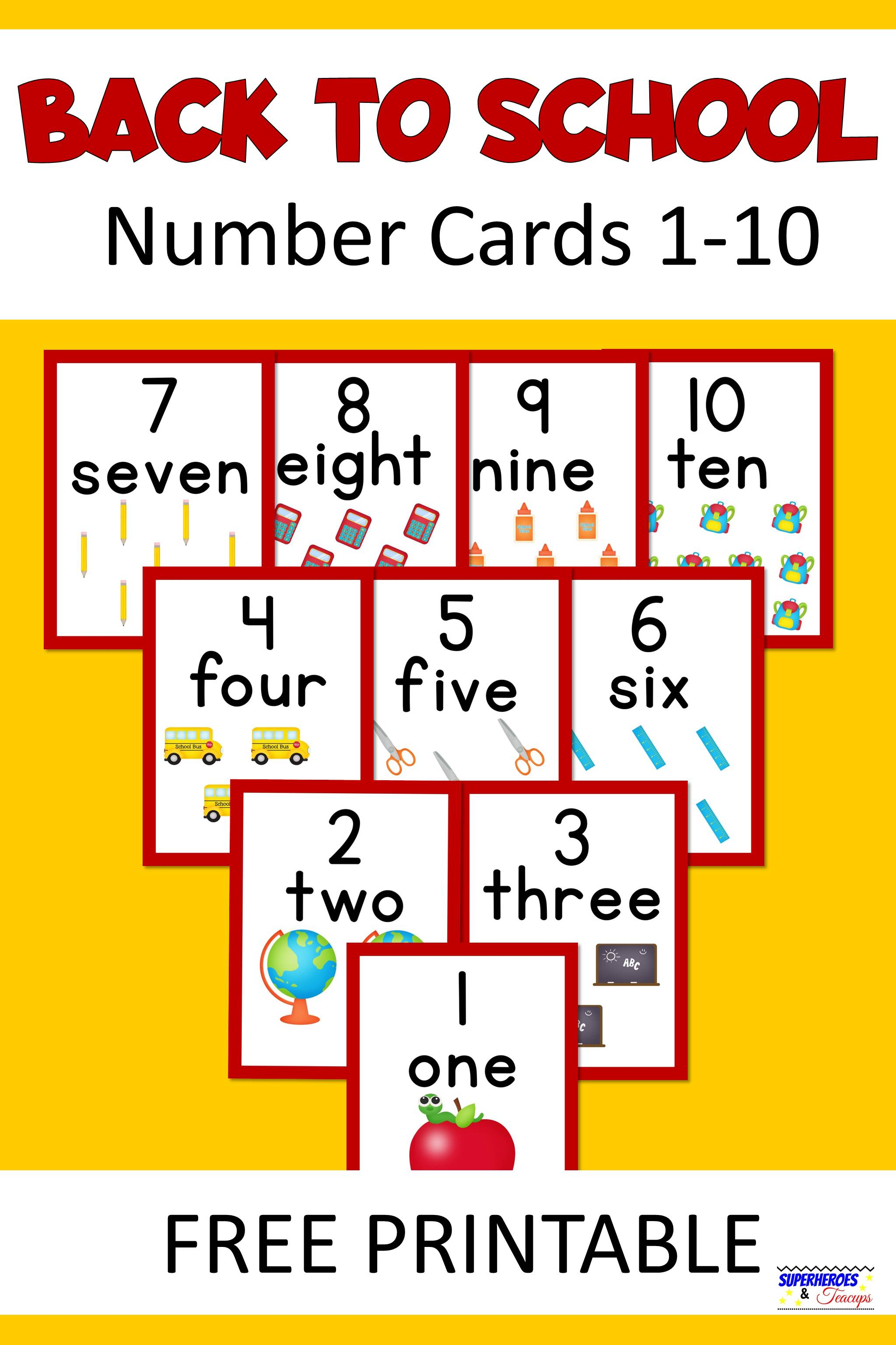 Back to School Number Cards Free Printable