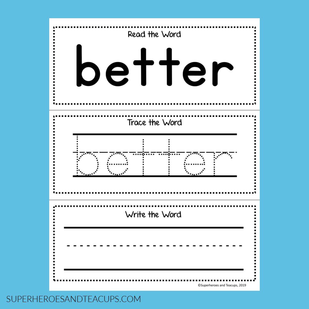 Third Grade Sight Word Activity Sheets