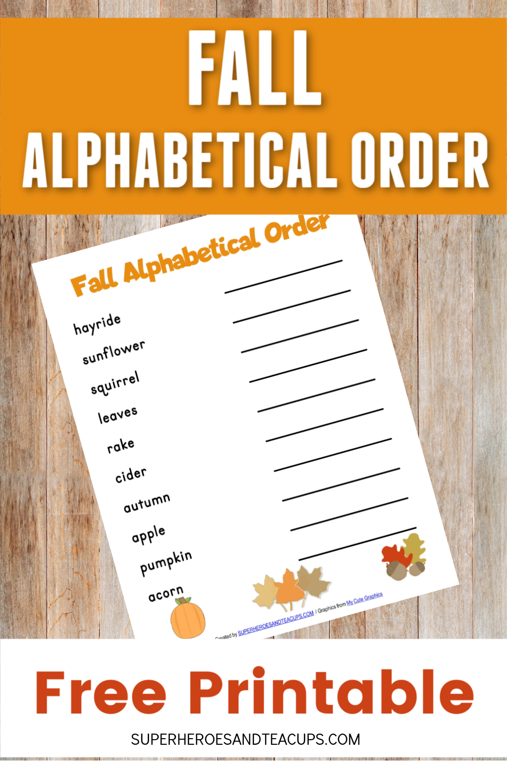 Fall Alphabetical Order Free Printable