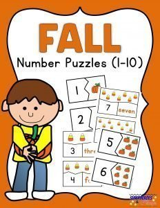 Fall Number Puzzles Free Printable