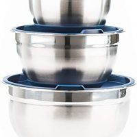 Premium Stainless Steel Mixing Bowls with Lids and Non Slip Bottom (Set of 3) by Fitzroy and Fox, Blue or Red
