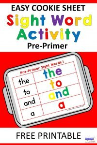 Cookie Sheet Sight Word Activity Pre-Primer