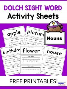 Nouns Dolch Sight Word Activity Sheets