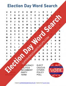 Election Day Word Search Free Printable
