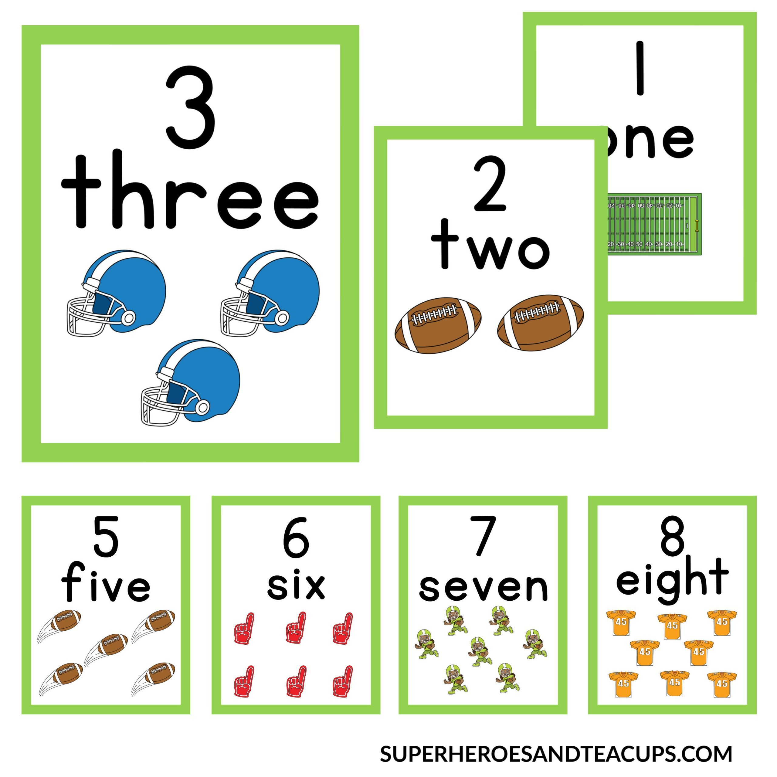 Football Number Cards Free Printable