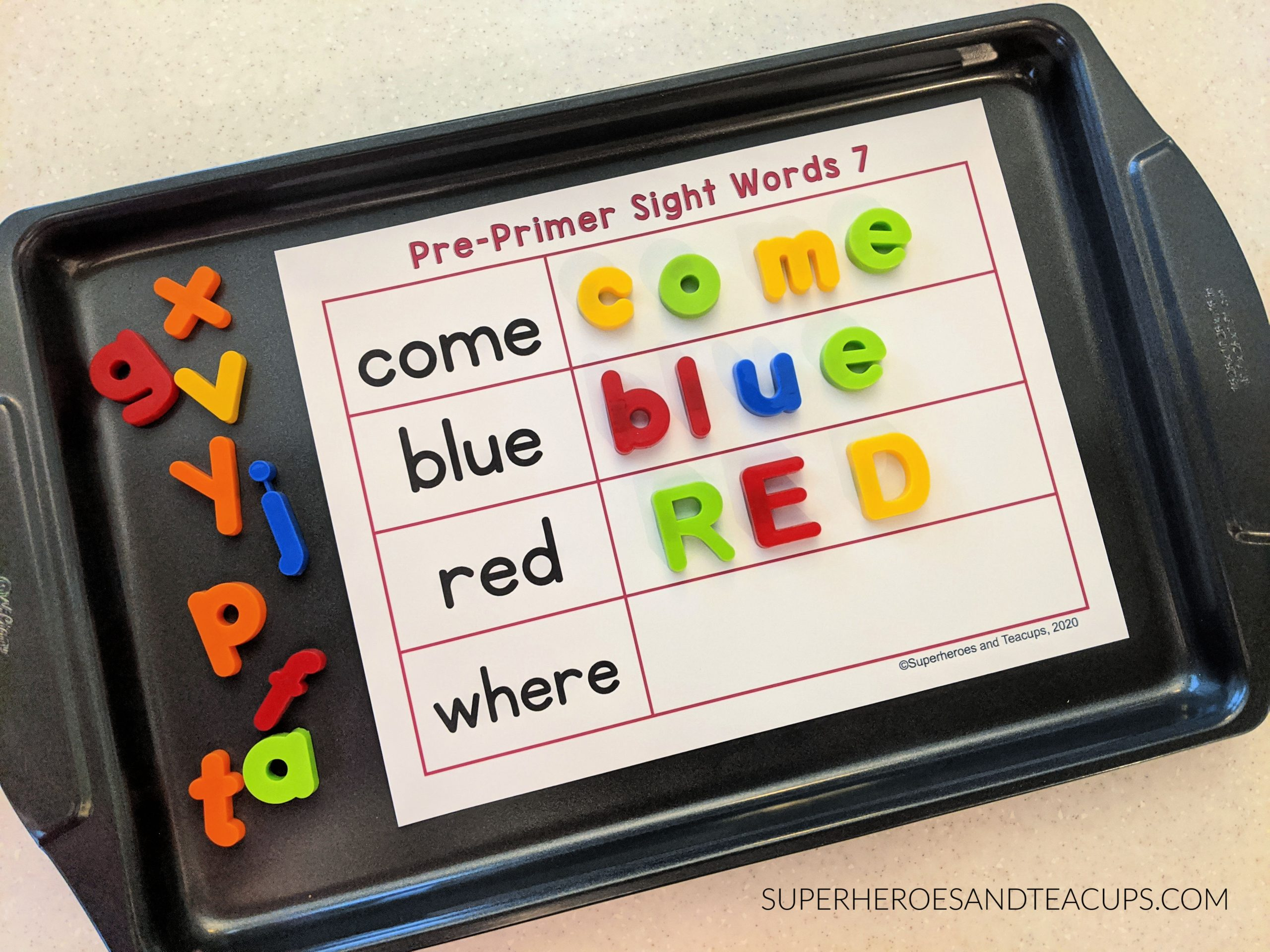 Cookie Sheet Pre-Primer Sight Word Activity