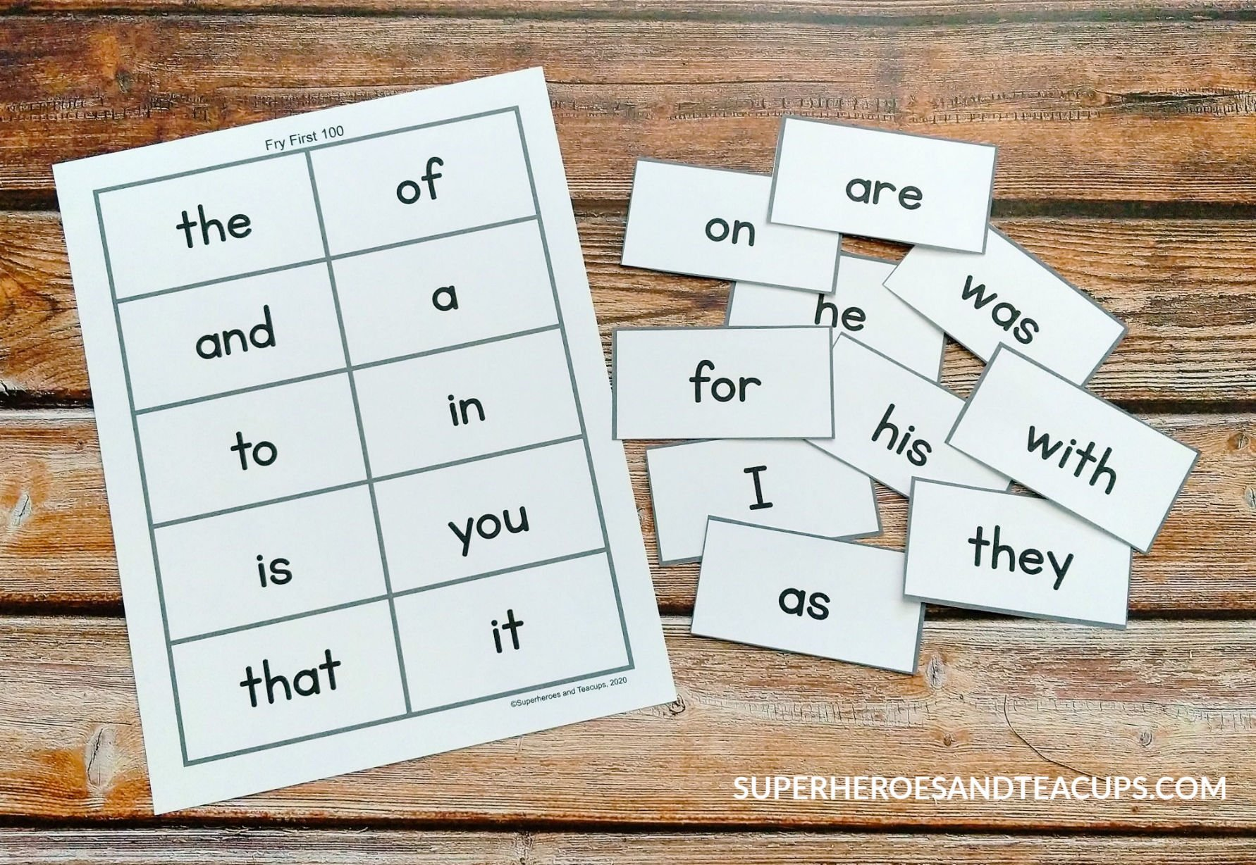 Free Printable Fry Sight Word Flash Cards