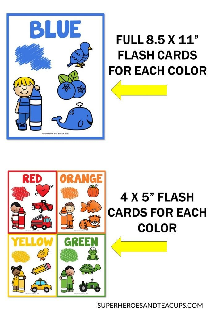 Color word flashcards for 11 colors in 2 different sizes.