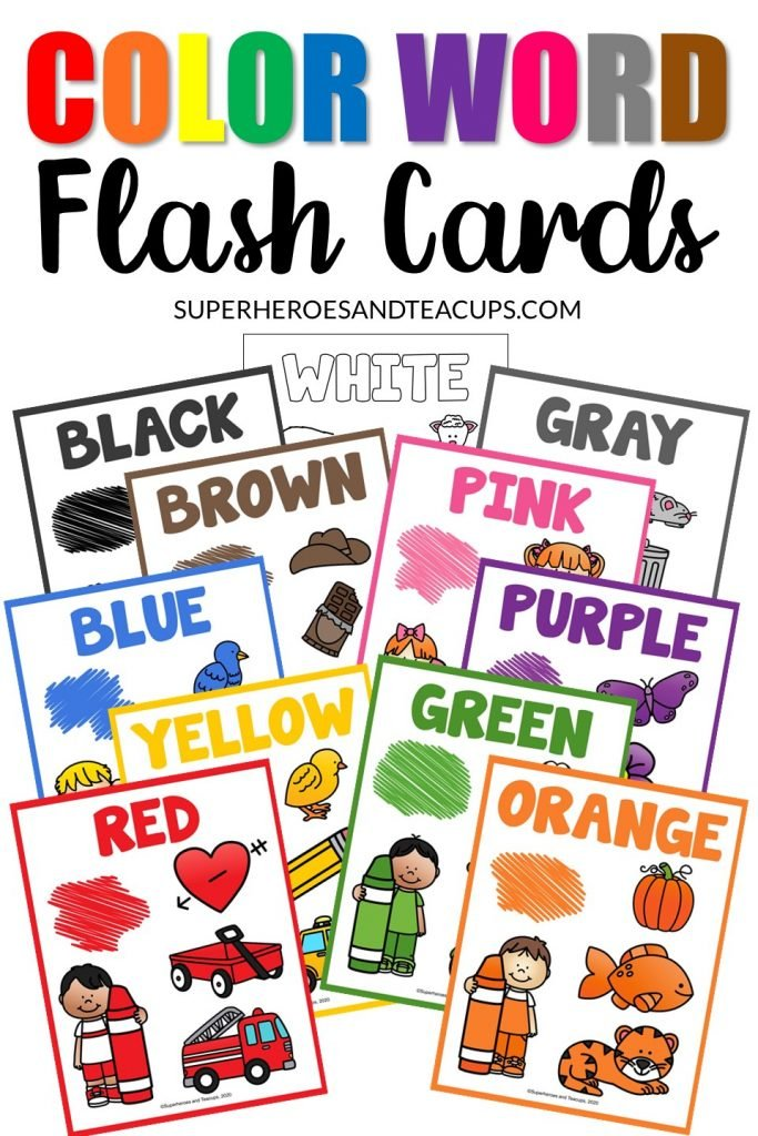 Color word flash cards for 11 colors in 2 different sizes.