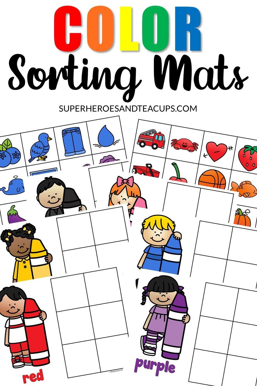Color Sorting Mats Free Printable for Preschoolers