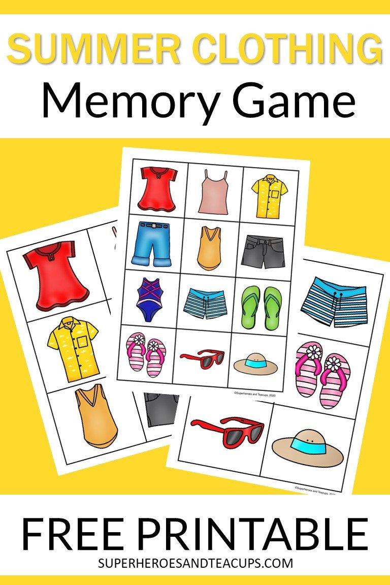 Summer Clothing Memory Game Free Printable