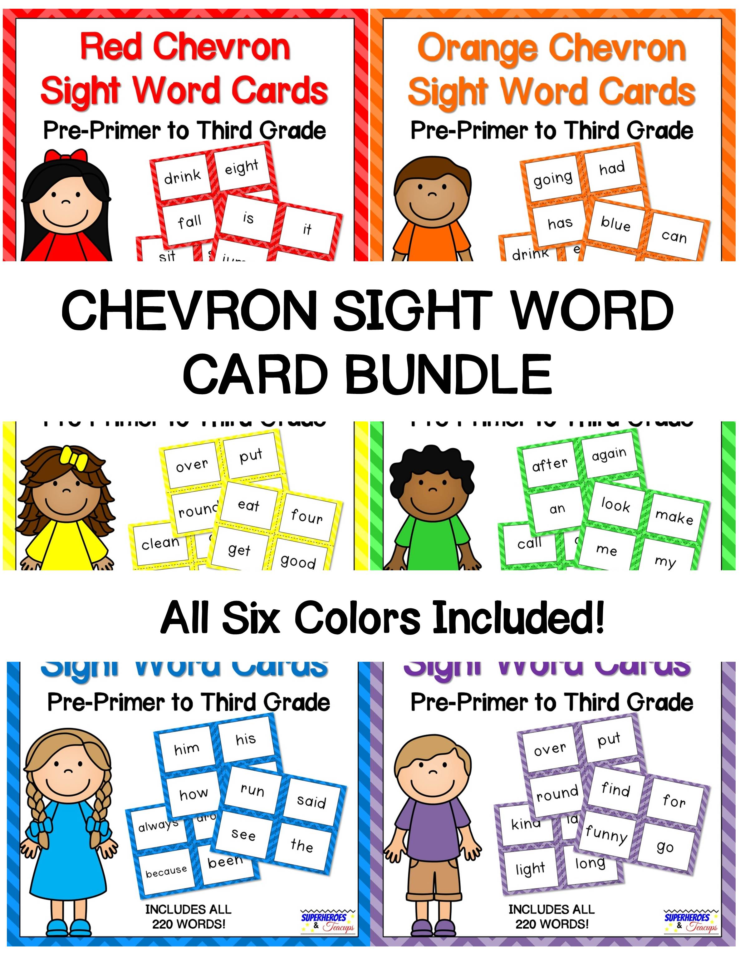 Printable sight word cards with a chevron theme. Includes 6 colors. Perfect for flash cards, word walls, and more! All 220 traditional Dolch words included. #sightwords #wordwall #literacy #superheroesandteacups