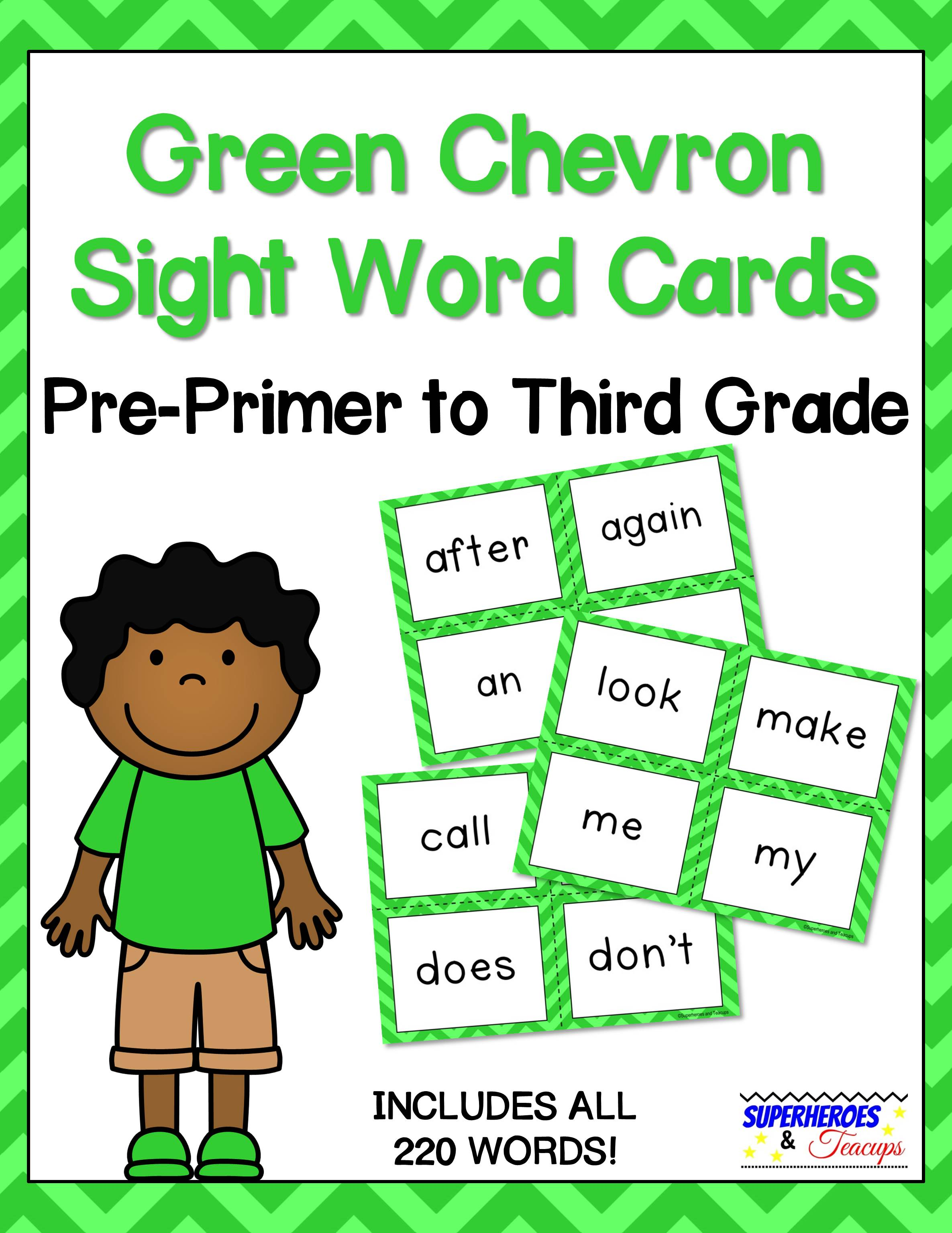 Printable sight word cards with a green chevron theme. Perfect for flash cards, word walls, and more! All 220 traditional Dolch words included. #sightwords #wordwall #literacy #superheroesandteacups