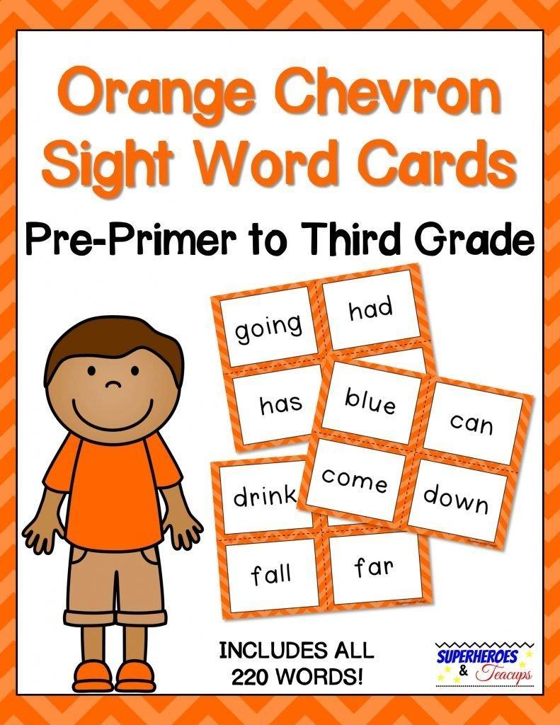 Orange Chevron Sight Word Cards