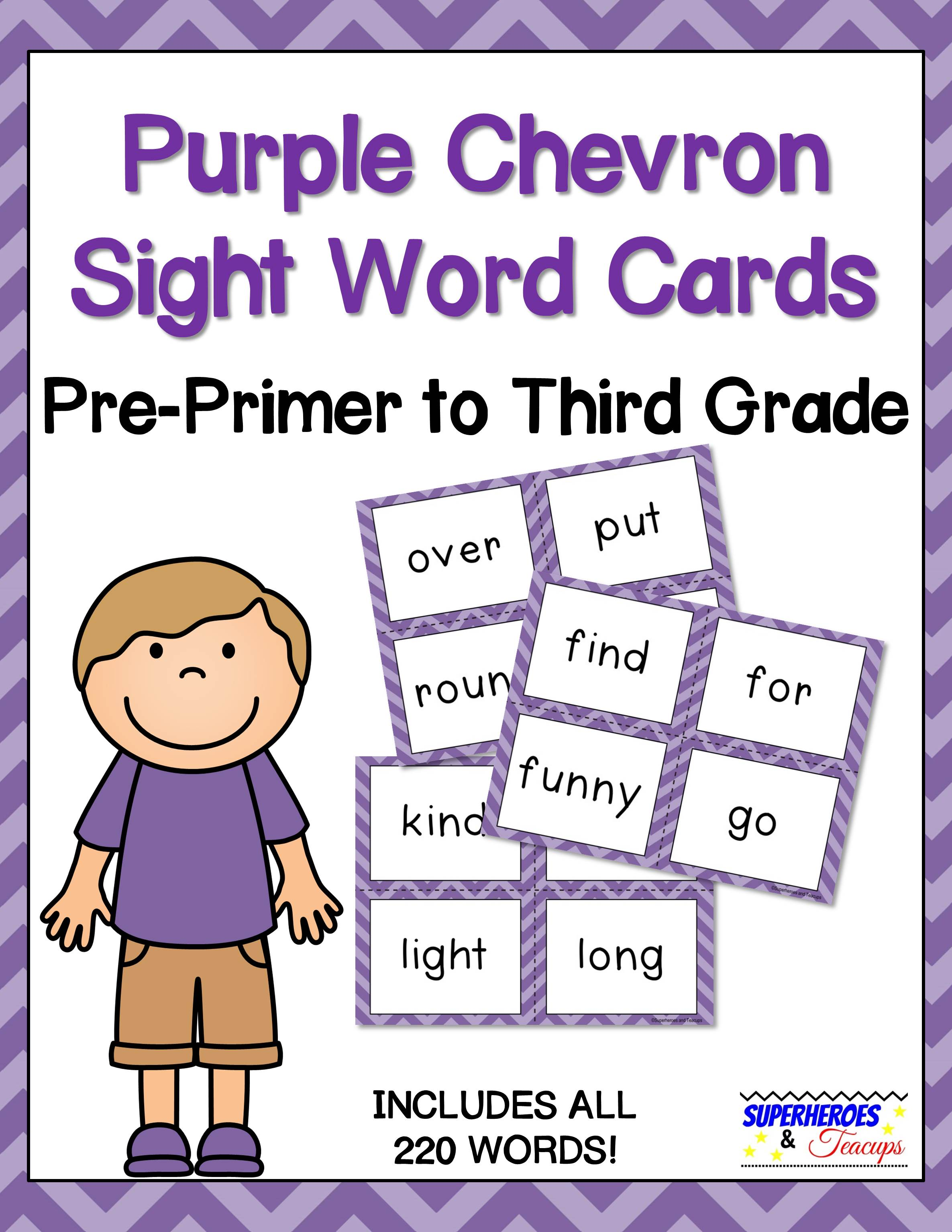 Printable sight word cards with a purple chevron theme. Perfect for flash cards, word walls, and more! All 220 traditional Dolch words included. #sightwords #wordwall #literacy #superheroesandteacups