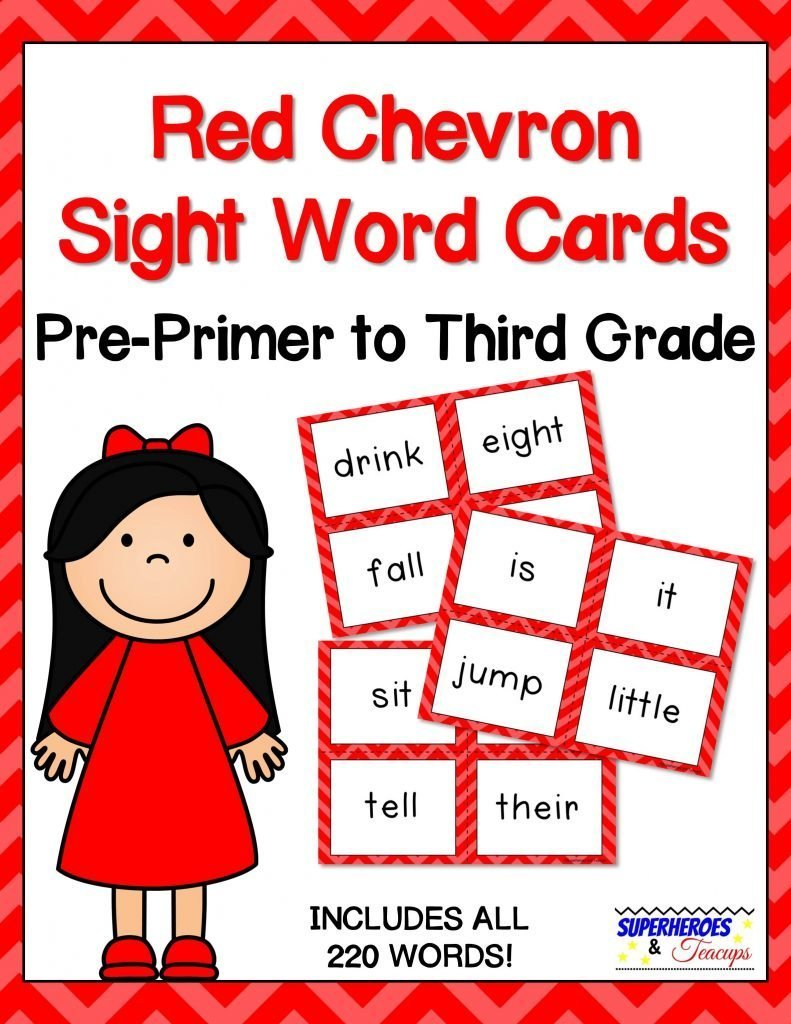 photograph regarding Printable Sight Word Cards named Crimson Chevron Sight Term Playing cards for Early Visitors