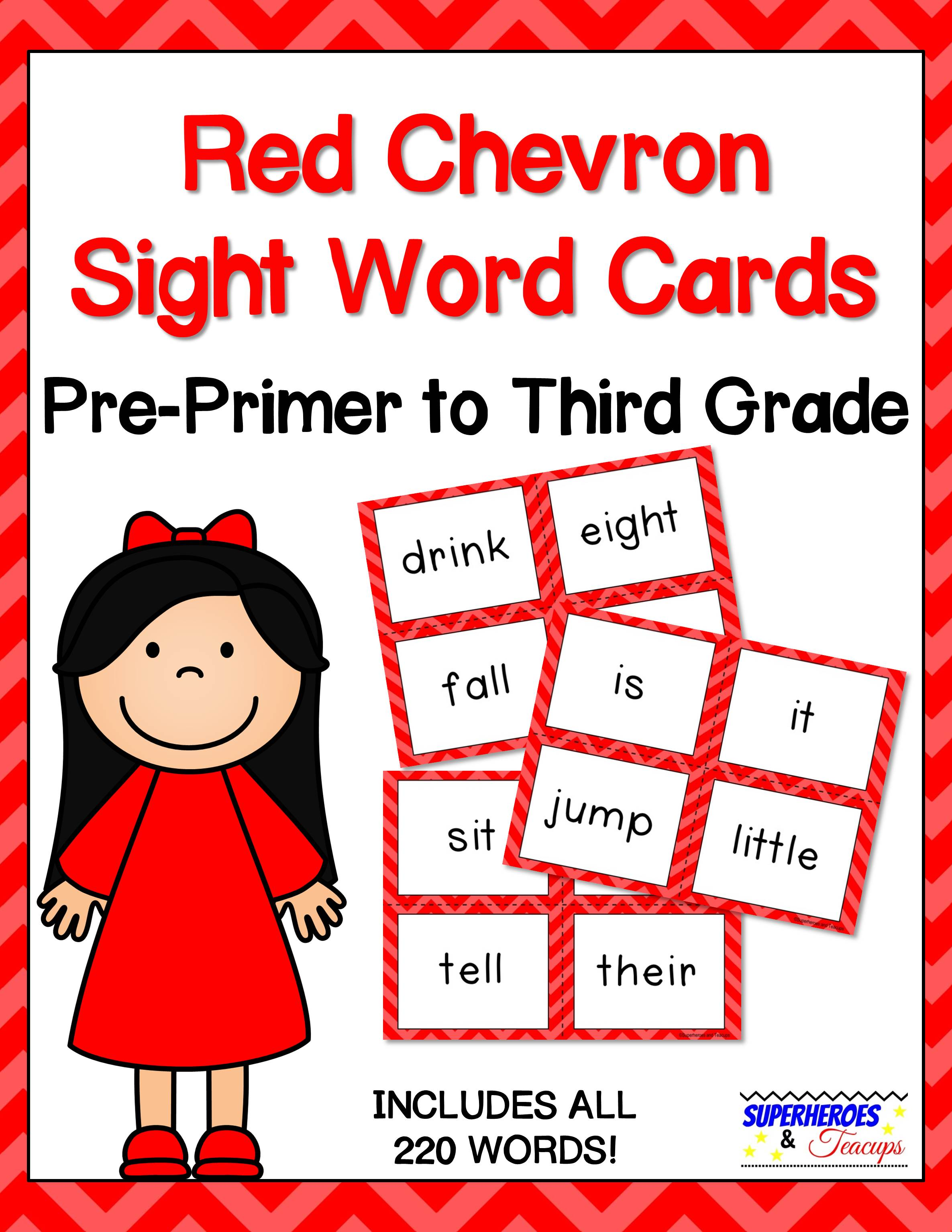 Printable sight word cards with a red chevron theme. Perfect for flash cards, word walls, and more! All 220 traditional Dolch words included. #sightwords #wordwall #literacy #superheroesandteacups