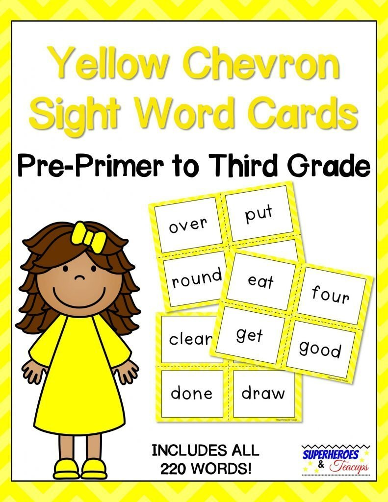 Yellow Chevron Sight Word Cards