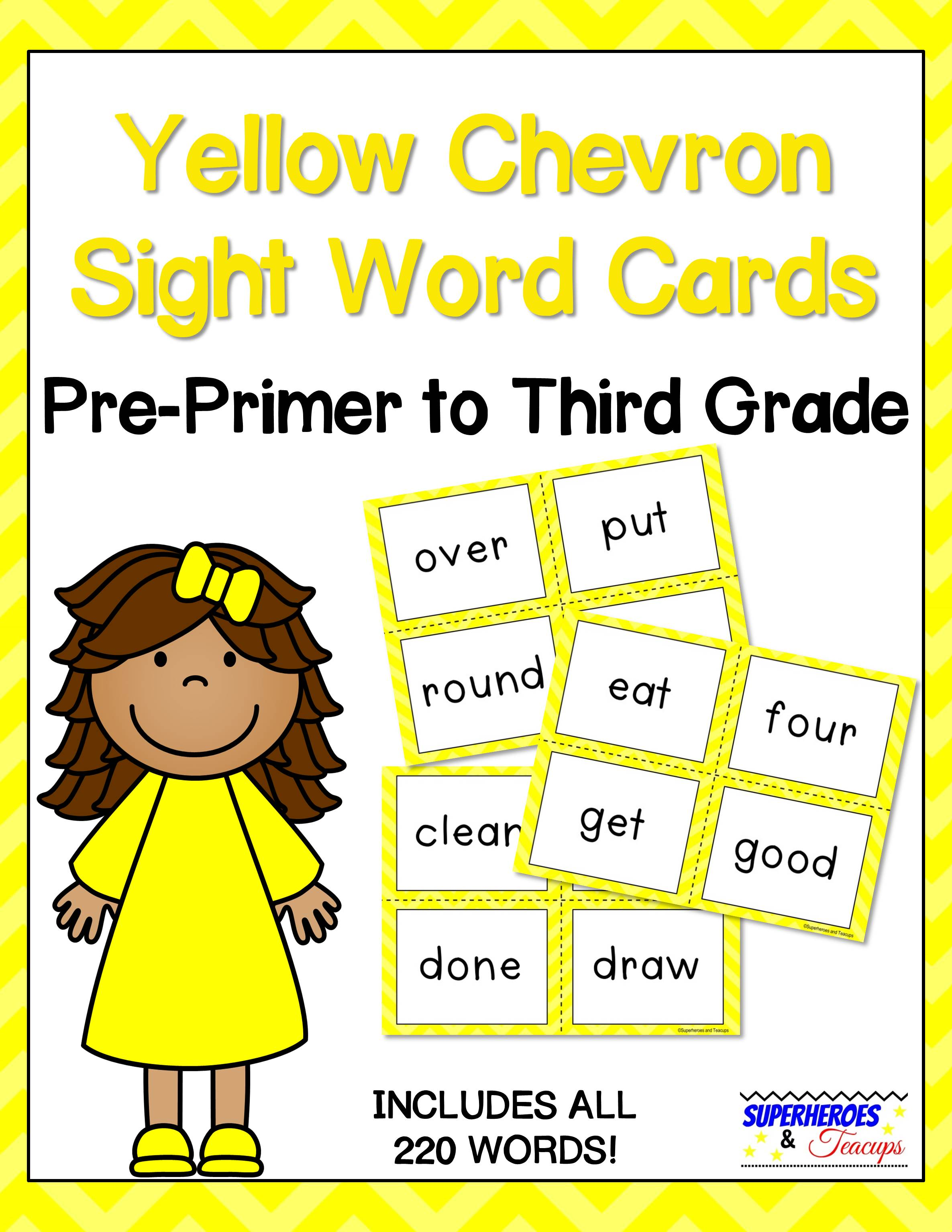 Printable sight word cards with a yellow chevron theme. Perfect for flash cards, word walls, and more! All 220 traditional Dolch words included. #sightwords #wordwall #literacy #superheroesandteacups