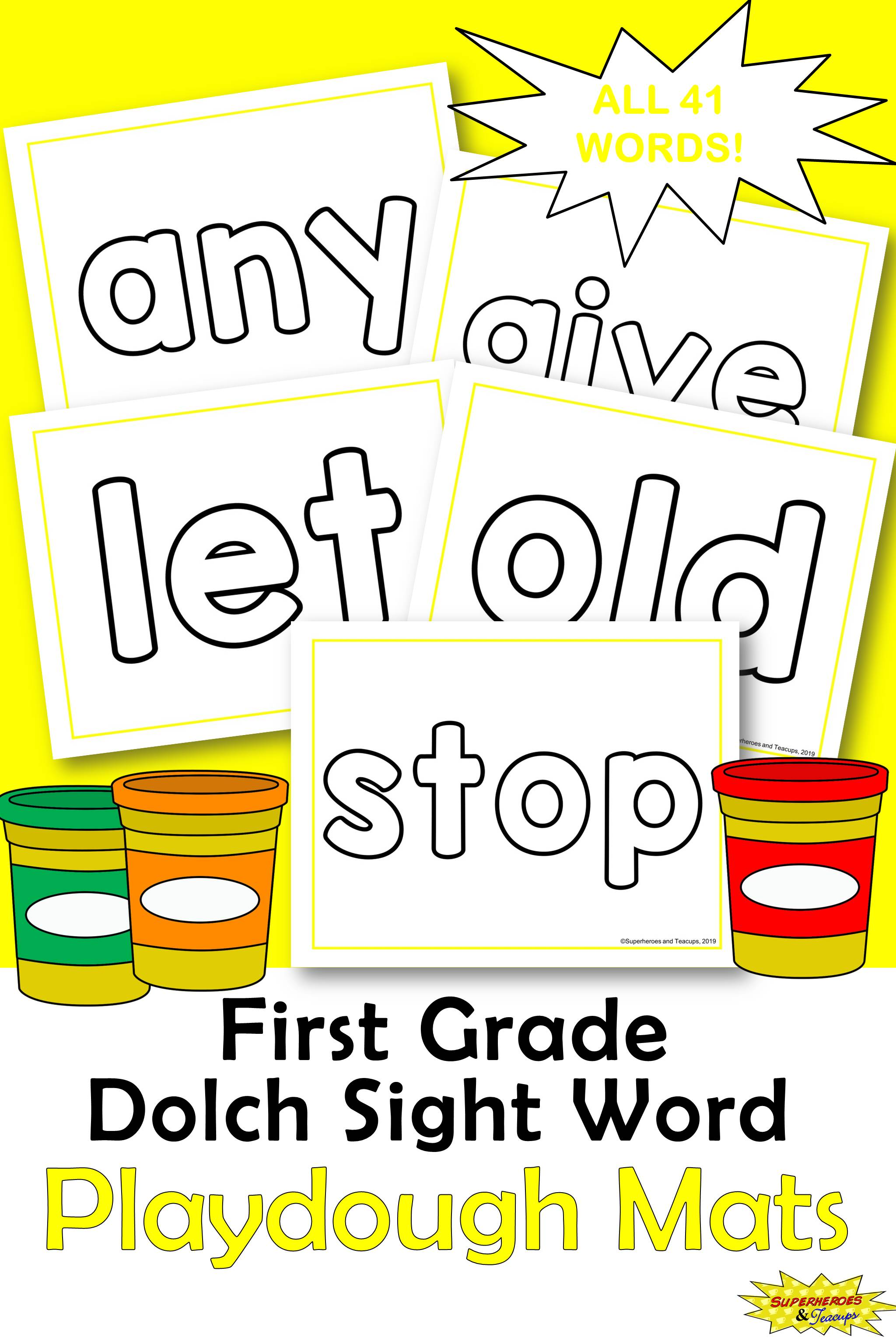 First Grade Dolch Sight Word Playdough Mats